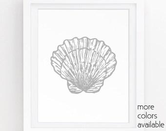 Seashell wall decor, Grey wall art, Coastal prints, Clam shell, Modern decor, Neutral art, Artwork download,Simple art 5x7, 8x10, 11x14 221e