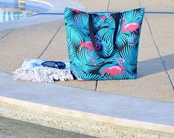 Pink flamingo beach bag, large pool or swim bag