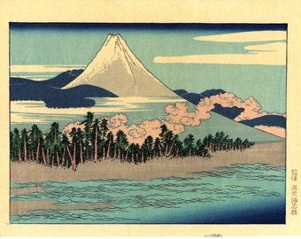 "Japanese Ukiyoe, Woodblock print, Katsushika Hokusai, ""Mt.fuji scenery at Senbon Matubara in Numazu"""