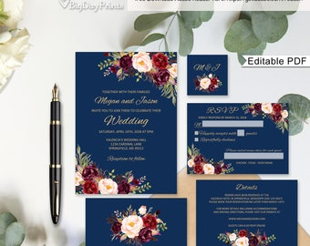 Wedding Invitation Template, Navy Burgundy Wedding Invitation Suite, Floral Wedding Set, Navy and Gold A033, Instant Download, Editable PDF