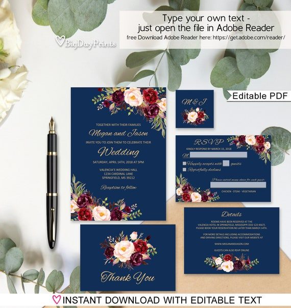 Wedding invitation template navy burgundy wedding invitation stopboris Choice Image