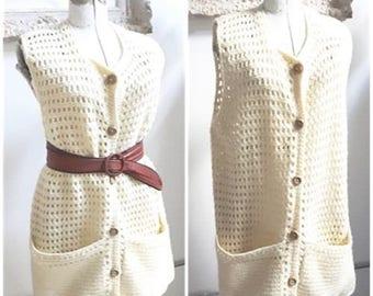 Vintage 1970s cream Sweater Vest