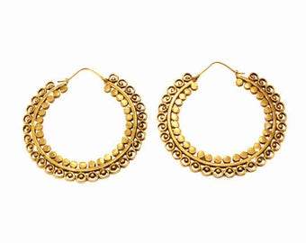 Large Hoops- Brass Jewelry- Gypsy Hoops- Tribal Jewelry