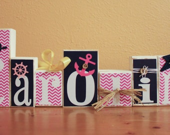 Girl Nautical Nursery Art- Whale Nursery Art- Hot Pink Navy Nursery Decor- Navy Pink Nautical Nursery- Pink Yellow Nursery- Baby Name Blocks
