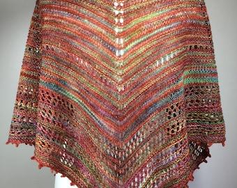 Hand knit shawl, multicolored shawl, lightweight shawl, lacy shawl, picot edge shawl, feminine shawl, summer shawl, spring shawl