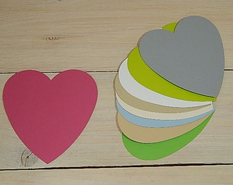 10 x Quality Small Heart Shaped Flat Cards in 30% Recycled Vibrant Cardstock