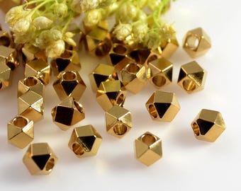 Raw Brass Beads, 4mm, Diamond Cut Beads, Solid Brass Beads, Large Hole Beads, 2mm Hole