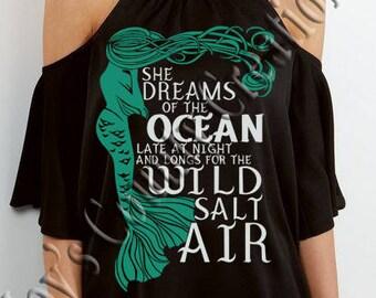 She Dreams of the Ocean Mermaid   SVG, PNG, JPEG