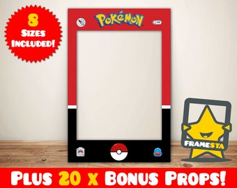 Pokemon Party Frame Photo Booth Prop Instant Digital Download, Pokemon Party, Pokemon Gifts