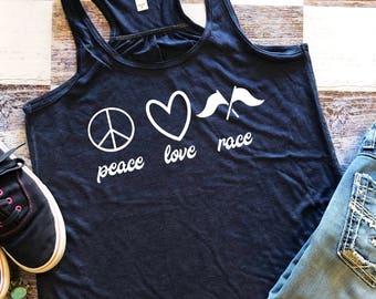 Racing Shirt / Womens Racerback Tank Top / Dirt Track Tank / Racetrack Tank Top / Race Like a Girl /  Gift Under 20  / Sprint Car Shirt