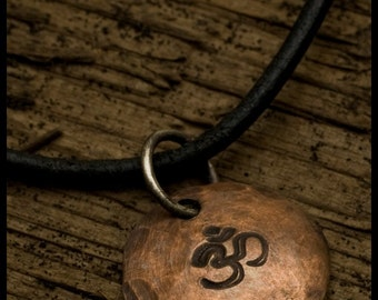 Om Aum Symbol Pendant Necklace  - Recycled copper hammered oxidized disc pendants