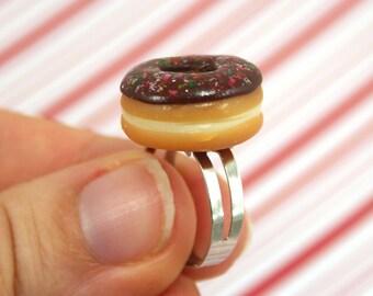 chocolate doughnut ring kawaii polymer clay charms miniature food jewelry polymer clay food ring chocolate donut ring doughnut charm
