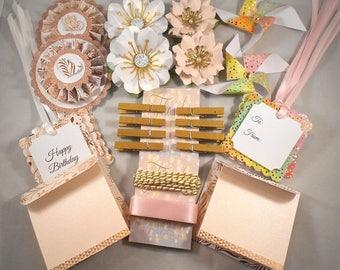 Craft Kit / 38 Piece Kit / Rose Gold Pink / Gift Tags / Rosettes / Pinwheels / Paper Flowers / Mini Cards / Packaging Kit