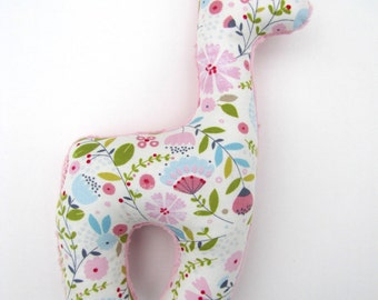 Plush Giraffe Rattle Toy Stuffed Animal Floral Baby