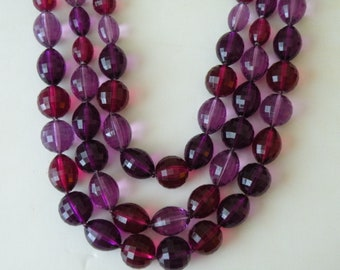 Faceted purple amethyst lucite beads three strands  necklace.