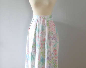 pastel floral skirt - vintage 80s light pink lavender blue easter abstract watercolor painterly art full high waisted a-line spring large