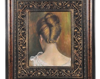 Sensual Female Back Neck Profile-Vintage Watercolor Painting-NICE!