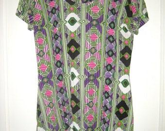 Vintage 1970s Shirt- Geometric Tunic Top- Hippie Shirt- Womens Tunic Top- Lime Green Pink Purple Black White Shirt-Womens Small Medium Shirt