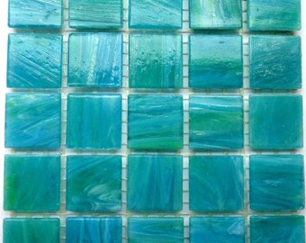"20mm (3/4"") Turquoise and Green Marbled BEVELED Glass Mosaic Tiles//Mosaic Supplies//Crafts//Mosaic"