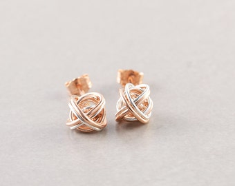 Rose Gold Silver Knot Studs, Two Tone Earrings, Knotted Jewelry, Love Knots, Bridesmaid Gift
