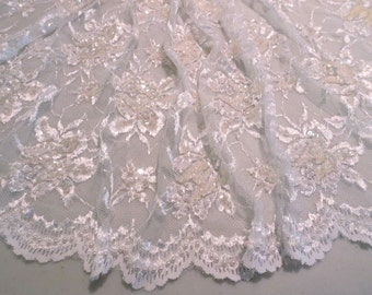 White Floral Chantilly Style Lace Fabric with Beads and Sequins--One Yard