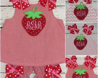 Girls Strawberry Monogram Swing Top Bloomer Set A-line Dress First Birthday Strawberry Birthday Dress