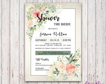Flower Bridal Shower Invitation - by DesignsByLindseyB