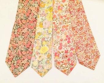 Coral Men'sTie, Liberty of London Print Tie, coral skinny tie, floral tie, liberty print tie, peach necktie, blush skinny tie, coral wedding