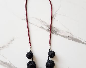Long black rope necklace, Rope statement necklace, Rope necklace with knots