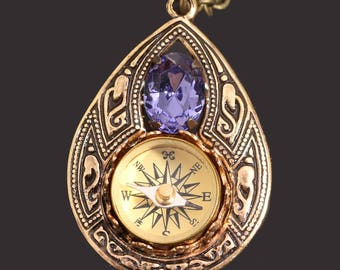 Bohemian Necklace Compass Necklace Working Compass Pendant Amethyst