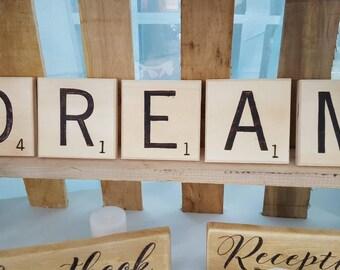 Crossword Letters // Wood burned // Scrabble Letters // Wall Art //