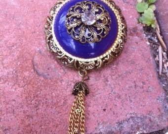 PRICE REDUCED! Vintage Blue & Gold Costume Jewelry Brooch (Pin) with Tassel