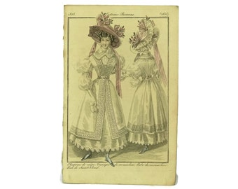 French Fashion Illustration. Antique Engraving. 1828 Fashion Plate from Costumes Parisiens. Ready To Frame Art. Fashionista Gift.