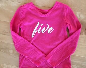 Five birthday shirt, Birthday Girl,  READY TO SHIP, Size 4/5, Pink Girl Birthday Party