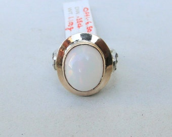 Victorian Diamond & Opal 14 Carat Gold Sterling Silver Finger Ring