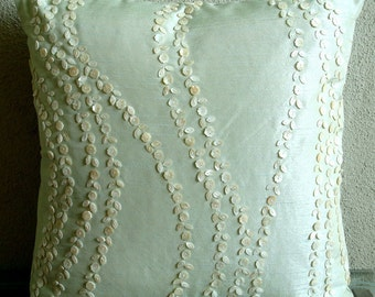 "Luxury Mint Green Pillows Cover, 16""x16"" Silk Pillowcase, Square Mother Of Pearls Floral Pillows Cover - Blossoms Blown"