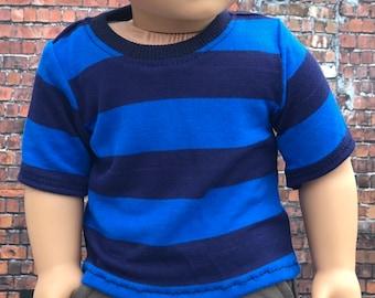 American Boy Doll Clothes - Blue Wide Stripe BOY Short Sleeve TEE for 18 Inch Doll
