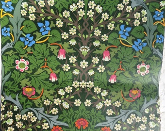 Vintage sanderson green wallpaper full roll of green, blue pink floral wallpaper