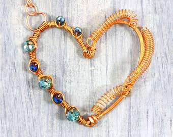 Copper Heart Necklace Copper Wire Wrapped Pendant Bold Heart Charm Jewelry Aqua Blue Fire Polished Czech Glass Spring Artisan Pendant  RTS