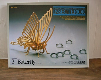 Vintage Wooden Puzzle Butterfly Insecterior Dom Space Design Tatsuya Kodaka 1981 Wood Sculpture