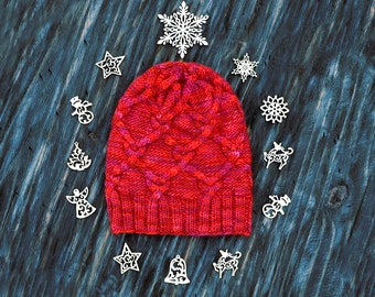 Merino Knitted Hat, Red Pink Knit Hat, Wool Hat, Slouchy Beanie, Merino Hat, Slouchy Wool Hat, Unisex Hat, Cabled Hat, Christmas Gift