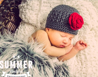 Cute Textured Beanie/ Hat with Matching Booties- Any Color & Size Available