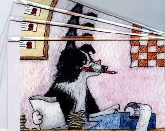 4 x Border Collie dog greeting cards sheepdog accountant cooking the books doing the accounts double entry bookkeeping Susan Alison Art