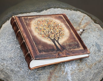 Personalized leather photo album Wedding album with two gold Trees of Life Classic Album anniversary wedding gift