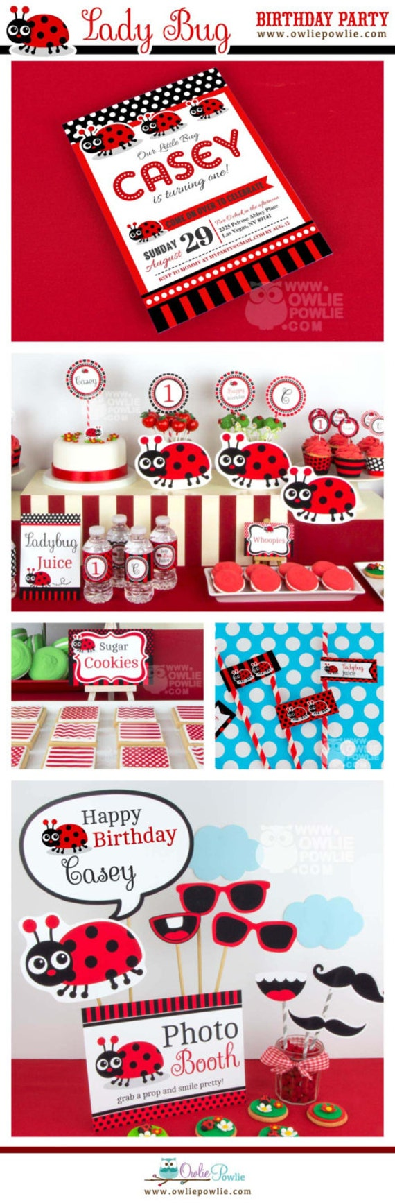 Lady bug birthday party printable package invitation lady bug birthday party printable package invitation instant download you edit yourself with adobe reader solutioingenieria Choice Image