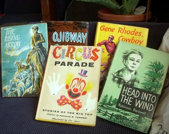 Set of Five Vintage Children's Novels with Dust Jackets, Weekly Reader Children's Book Club, Instant Fiction Collection, Excellent Books