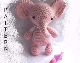 Baby Elephant Crochet Pattern-Seamless Elephant-Toy Elephant DIY-Amigurumi Elephant-DIY Crochet Toy-Elephant Tutorial-Small Crochet Animals