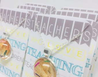 Teacher Pencil Shaving Necklaces-School-Teacher-Teacher Gift