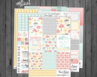 VERTICAL Spring Showers Weekly Kit, Spring Planner Stickers, Vertical Sticker Kits