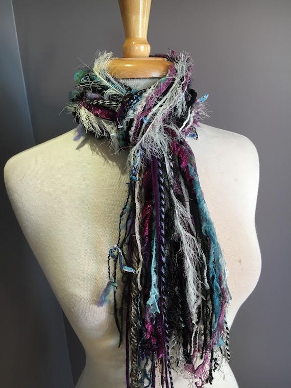 Medium Fringie in Memory, Fringe Scarf, Handmade hand-tied art yarn scarf in blue black purple ivory, bohemian, gifts, short scarf, ribbon
